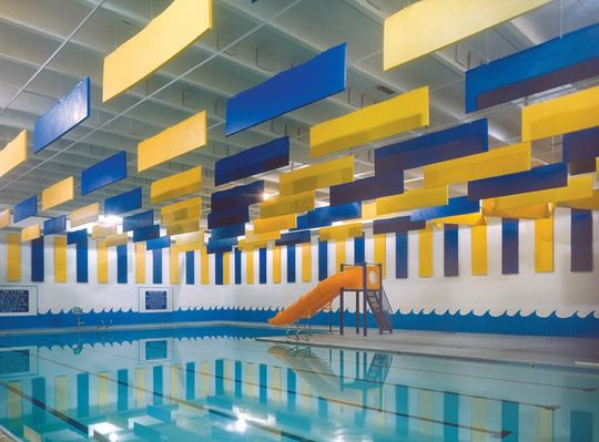 Swimming pool and acoustic panels